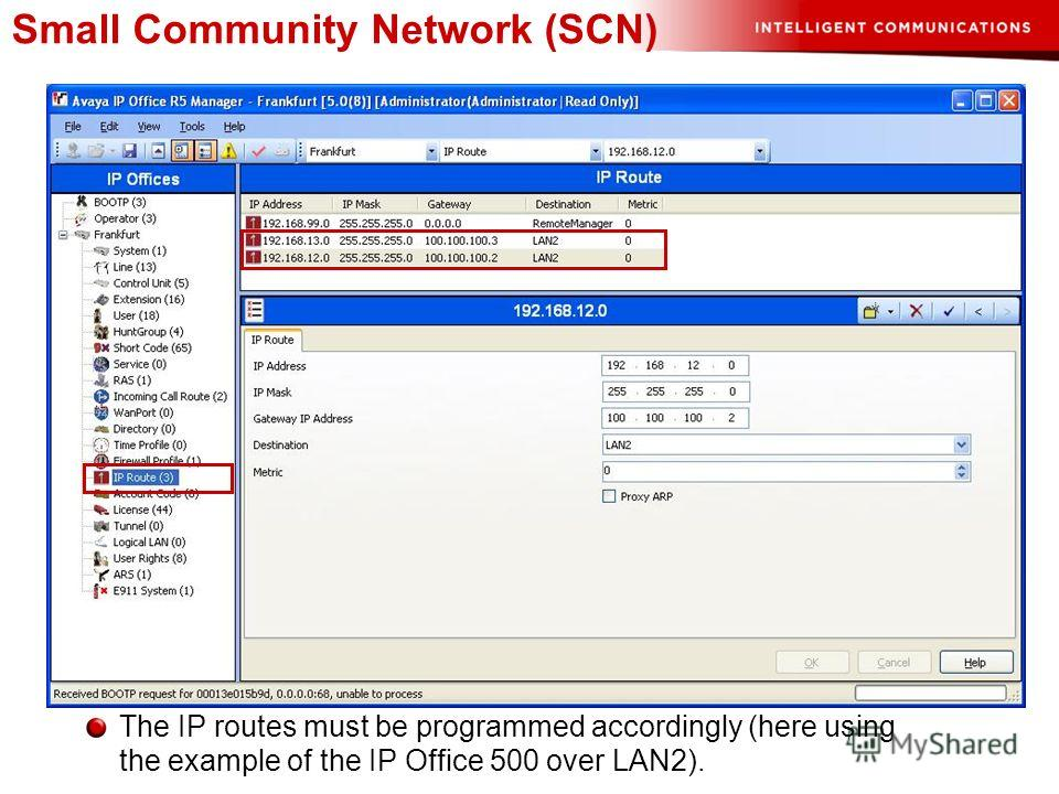 Small Community Network (SCN) The IP routes must be programmed accordingly (here using the example of the IP Office 500 over LAN2).