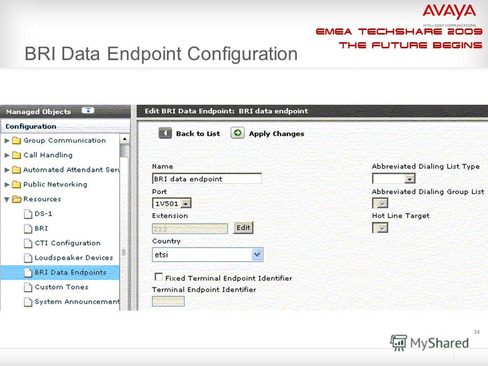 EMEA Techshare 2009 The Future Begins 34 BRI Data Endpoint Configuration