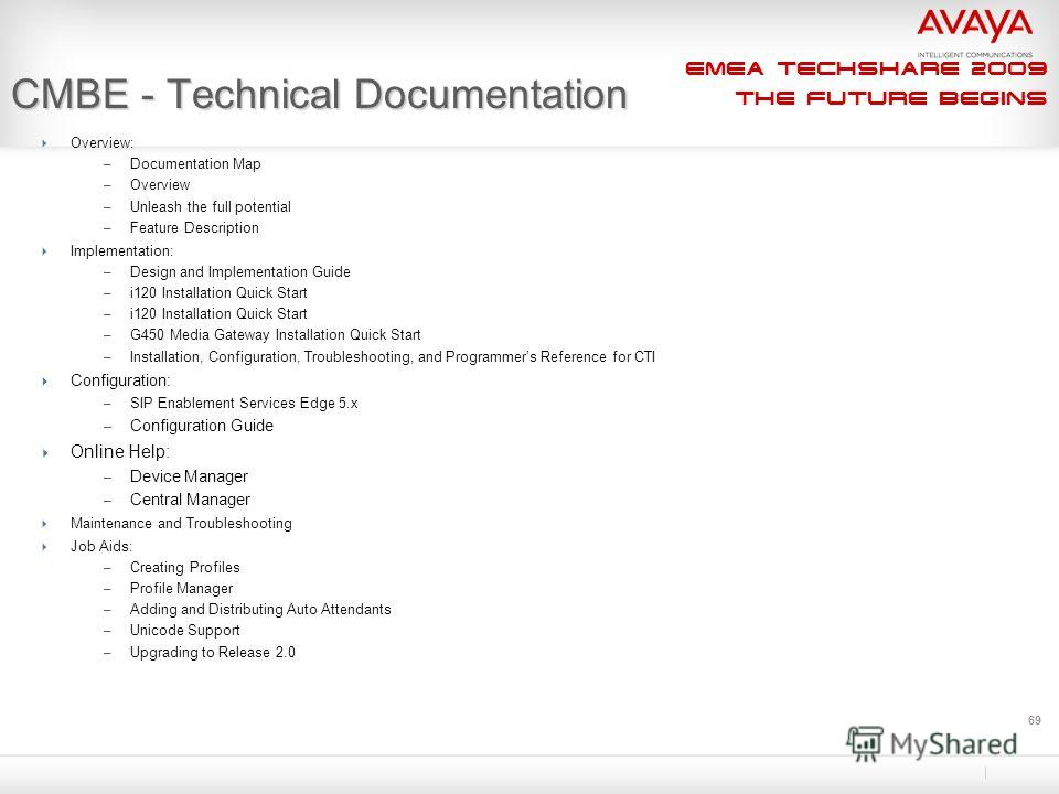 EMEA Techshare 2009 The Future Begins 69 CMBE - Technical Documentation Overview: – Documentation Map – Overview – Unleash the full potential – Feature Description Implementation: – Design and Implementation Guide – i120 Installation Quick Start – G4