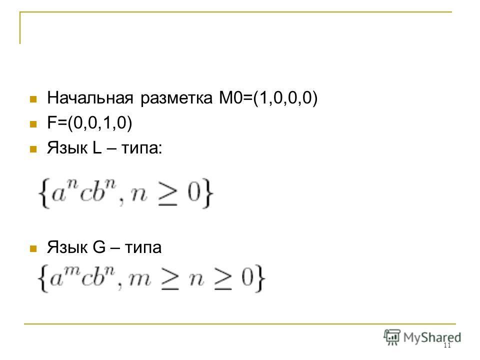 11 Начальная разметка M0=(1,0,0,0) F=(0,0,1,0) Язык L – типа: Язык G – типа