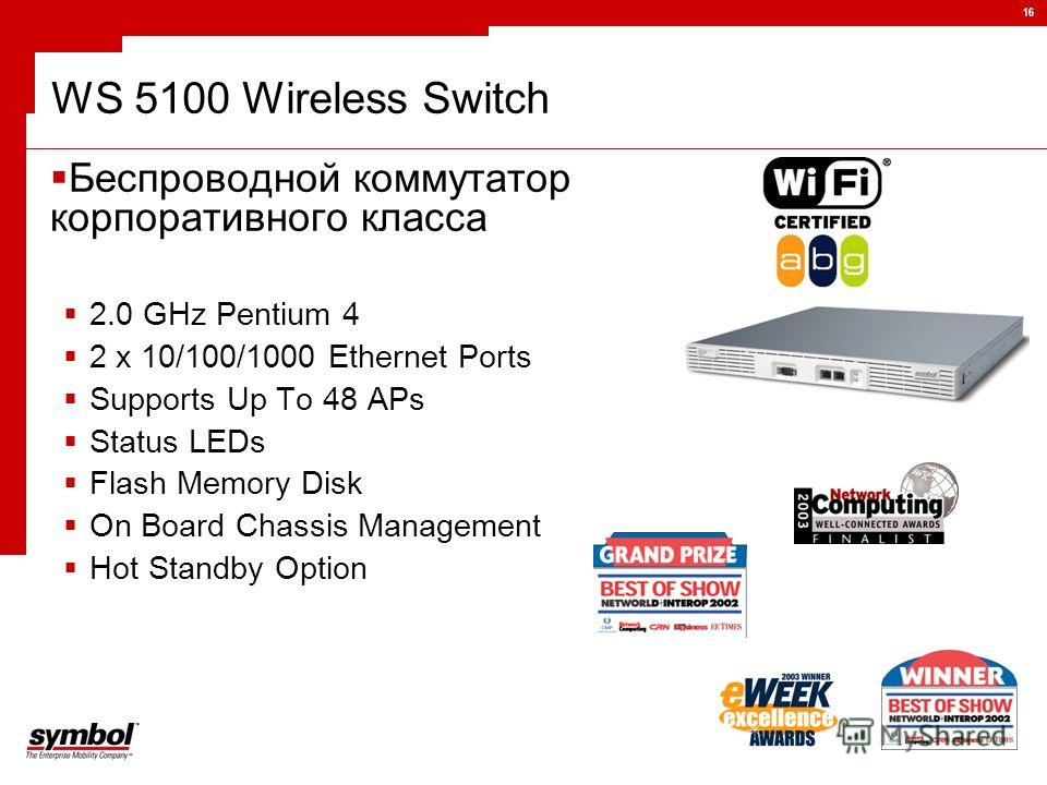 16 WS 5100 Wireless Switch Беспроводной коммутатор корпоративного класса 2.0 GHz Pentium 4 2 x 10/100/1000 Ethernet Ports Supports Up To 48 APs Status LEDs Flash Memory Disk On Board Chassis Management Hot Standby Option