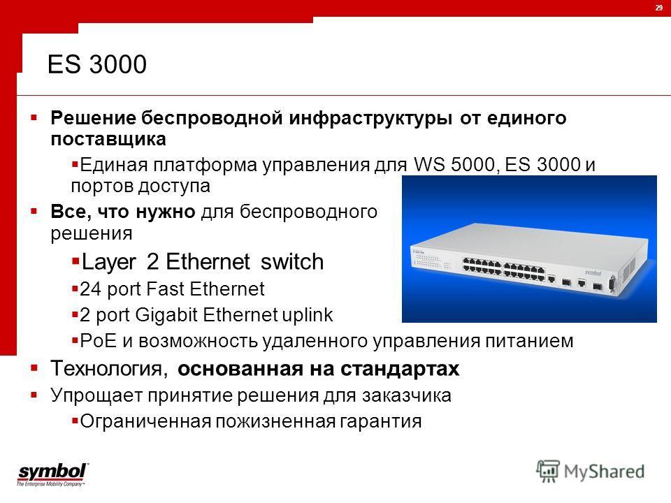 29 ES 3000 Решение беспроводной инфраструктуры от единого поставщика Единая платформа управления для WS 5000, ES 3000 и портов доступа Все, что нужно для беспроводного решения Layer 2 Ethernet switch 24 port Fast Ethernet 2 port Gigabit Ethernet upli