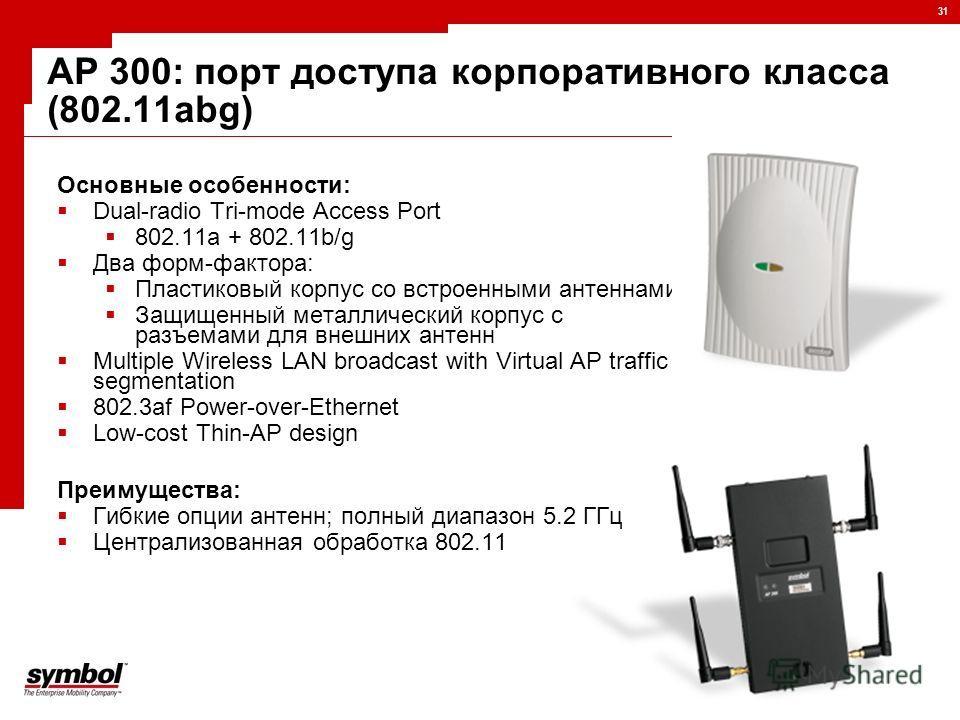 31 AP 300: порт доступа корпоративного класса (802.11abg) Основные особенности: Dual-radio Tri-mode Access Port 802.11a + 802.11b/g Два форм-фактора: Пластиковый корпус со встроенными антеннами Защищенный металлический корпус с разъемами для внешних