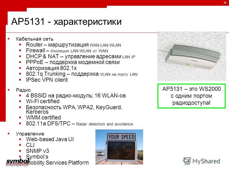 35 AP5131 - характеристики Кабельная сеть Router – маршрутизация WAN-LAN-WLAN Firewall – Изоляция LAN-WLAN от WAN DHCP & NAT – управление адресами LAN IP PPPoE – поддержка модемной связи Авторизация 802.1x 802.1q Trunking – поддержка VLAN на порту LA