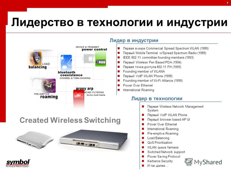 4 Лидерство в технологии и индустрии Created Wireless Switching Первая в мире Commercial Spread Spectrum WLAN (1989) Первый Mobile Terminal w/Spread Spectrum Radio (1989) IEEE 802.11 committee founding members (1993) Первый Wireless Pen Based PDA (19