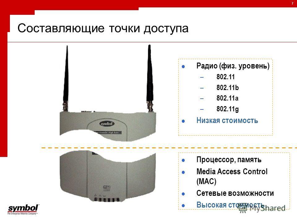 7 Радио (физ. уровень) – 802.11 – 802.11b – 802.11a – 802.11g Низкая стоимость Процессор, память Media Access Control (MAC) Сетевые возможности Высокая стоимость Составляющие точки доступа