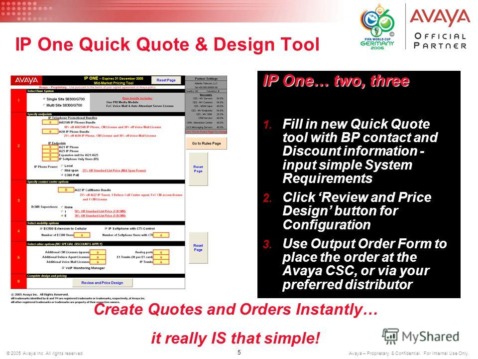 5 © 2005 Avaya Inc. All rights reserved. Avaya – Proprietary & Confidential. For Internal Use Only. IP One Quick Quote & Design Tool IP One… two, three 1. Fill in new Quick Quote tool with BP contact and Discount information - input simple System Req
