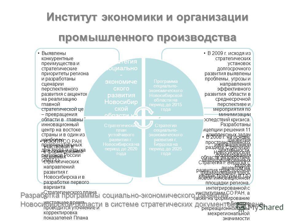 Институт экономики и организации промышленного производства В 2008 г. на основе пространственного раздела Стратегии Новосибирской области разработана Стратегия г. Бердска с акцентом на формирование здесь новой инновационной площадки региона, интегрир