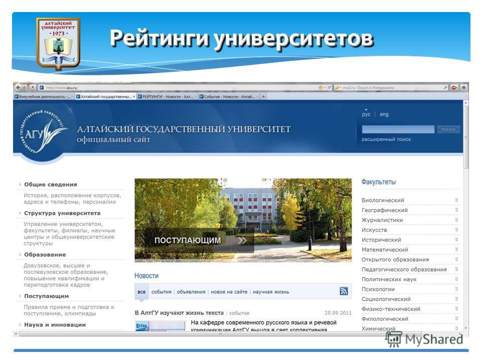 Рейтинг сайтов Webometrics Рейтинги университетов