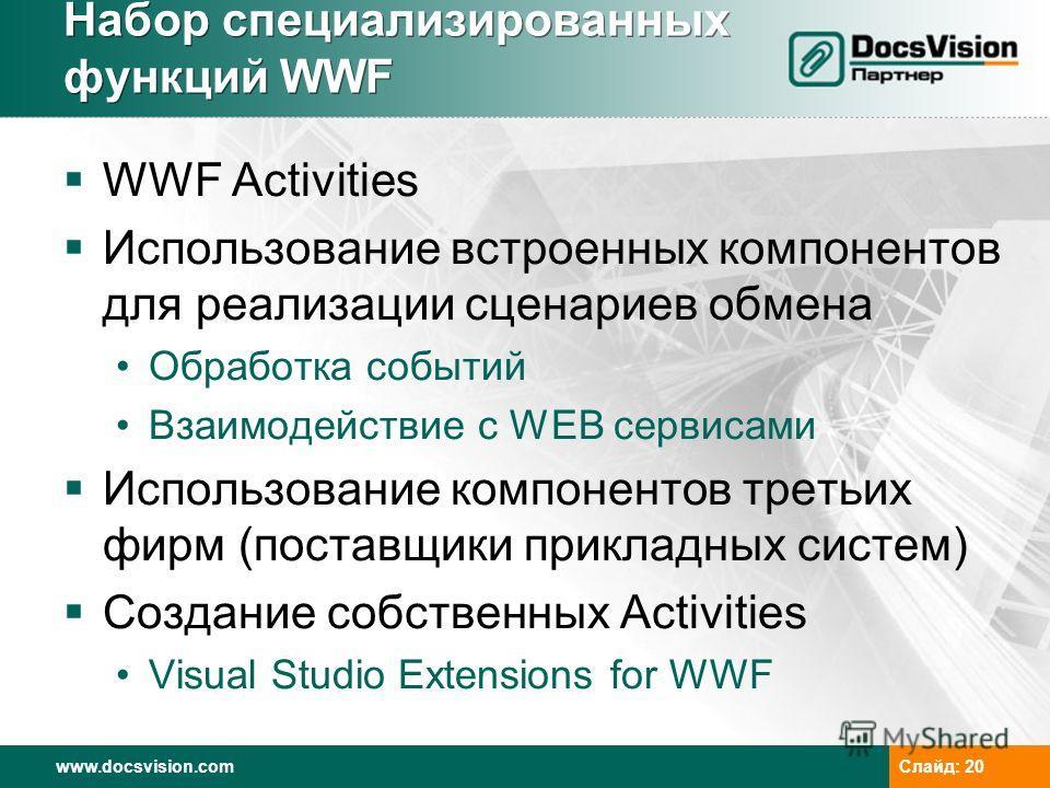www.docsvision.com Слайд: 20 Набор специализированных функций WWF WWF Activities Использование встроенных компонентов для реализации сценариев обмена Обработка событий Взаимодействие с WEB сервисами Использование компонентов третьих фирм (поставщики