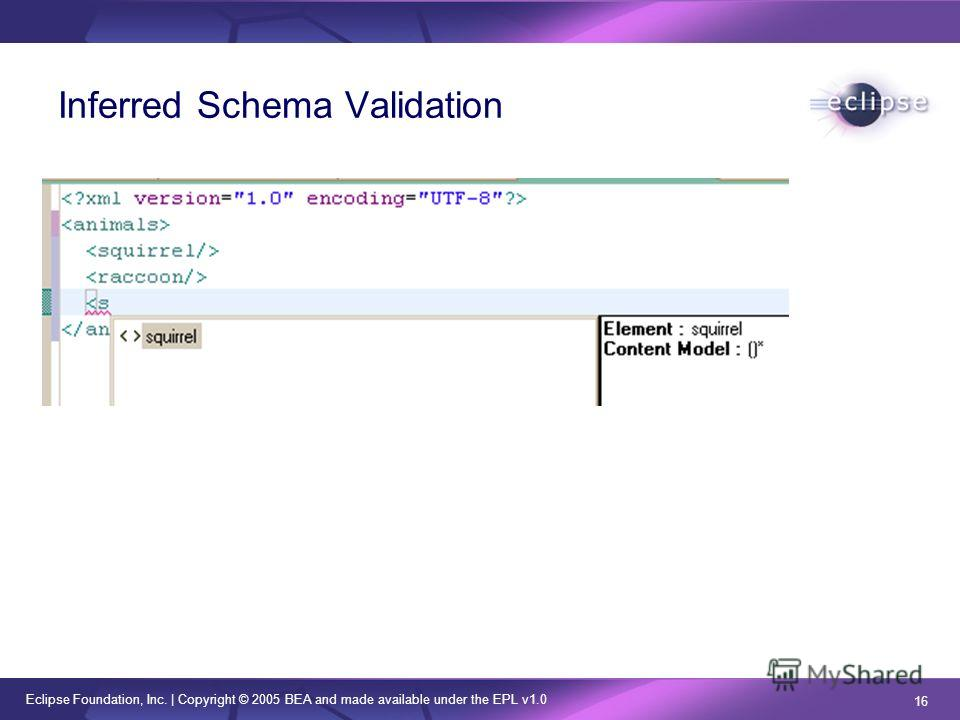 Eclipse Foundation, Inc. | Copyright © 2005 BEA and made available under the EPL v1.0 16 Inferred Schema Validation