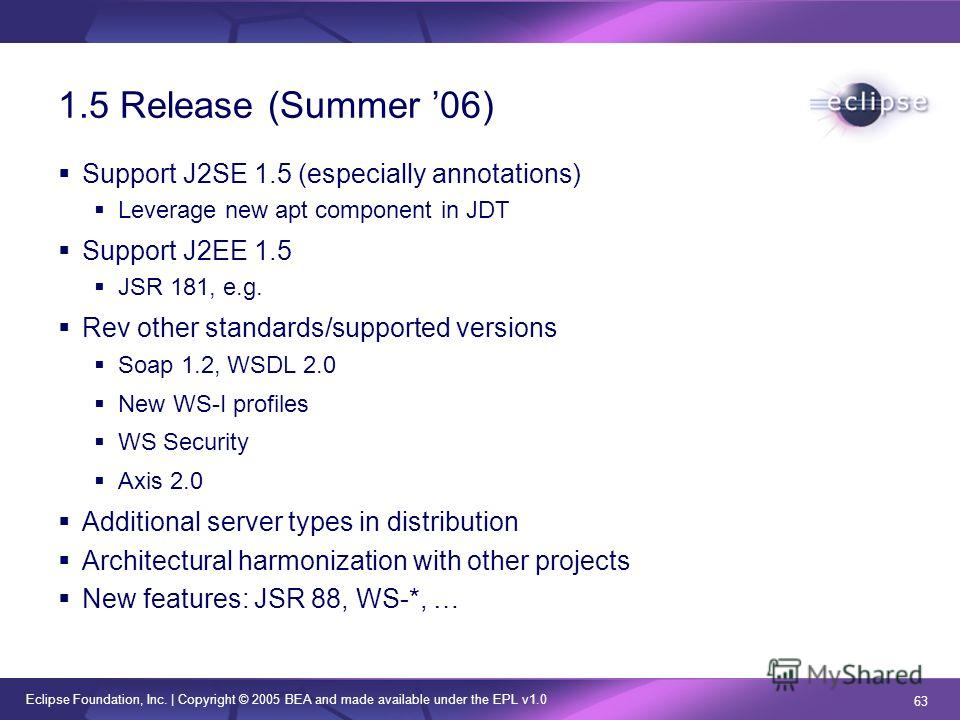 Eclipse Foundation, Inc. | Copyright © 2005 BEA and made available under the EPL v1.0 63 1.5 Release (Summer 06) Support J2SE 1.5 (especially annotations) Leverage new apt component in JDT Support J2EE 1.5 JSR 181, e.g. Rev other standards/supported