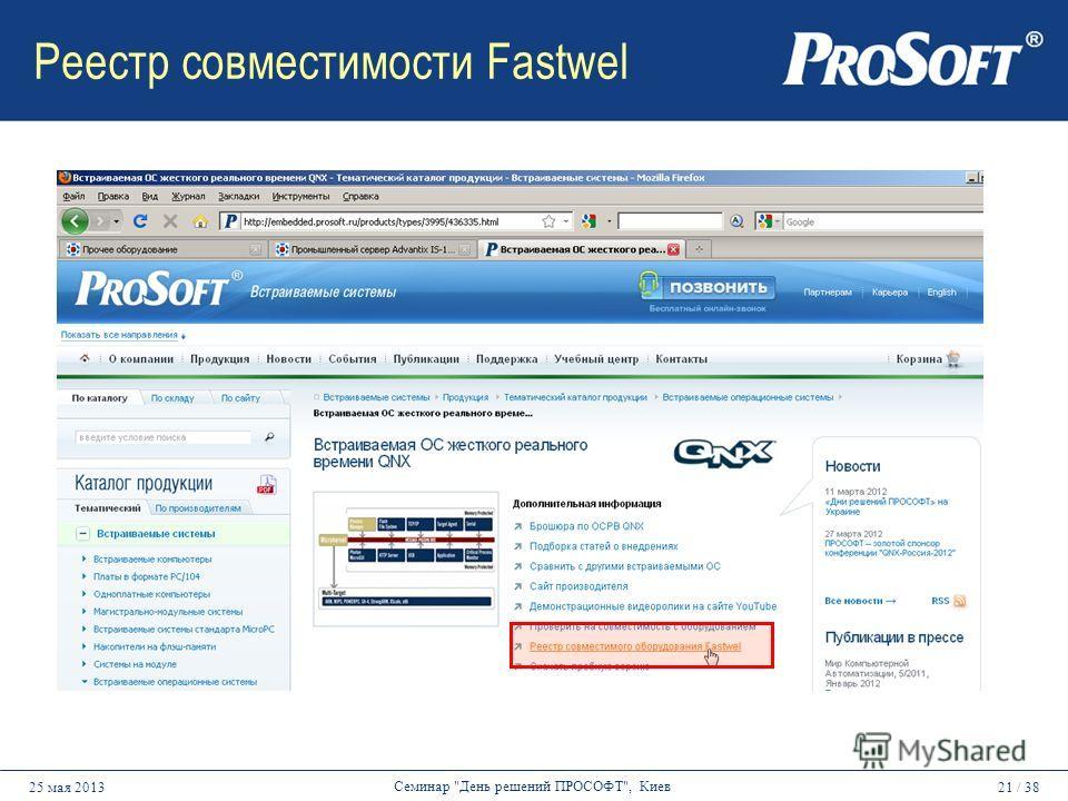21 / 3825 мая 2013 Семинар День решений ПРОСОФТ, Киев Реестр совместимости Fastwel