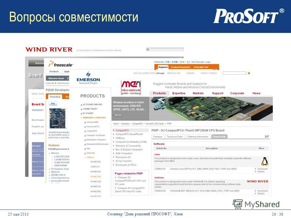 26 / 3825 мая 2013 Семинар День решений ПРОСОФТ, Киев Вопросы совместимости
