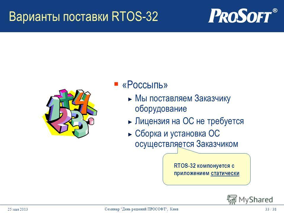 33 / 3825 мая 2013 Семинар День решений ПРОСОФТ, Киев Варианты поставки RTOS-32 «Россыпь» Мы поставляем Заказчику оборудование Лицензия на ОС не требуется Сборка и установка ОС осуществляется Заказчиком RTOS-32 компонуется с приложением статически