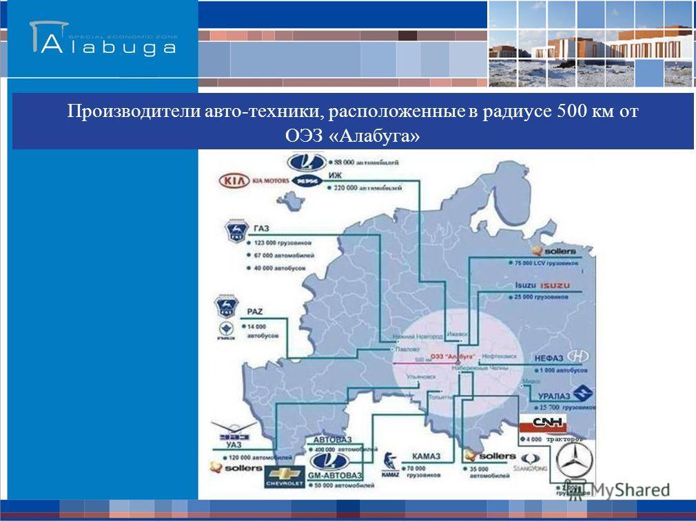 Производители авто-техники, расположенные в радиусе 500 км от ОЭЗ «Алабуга»