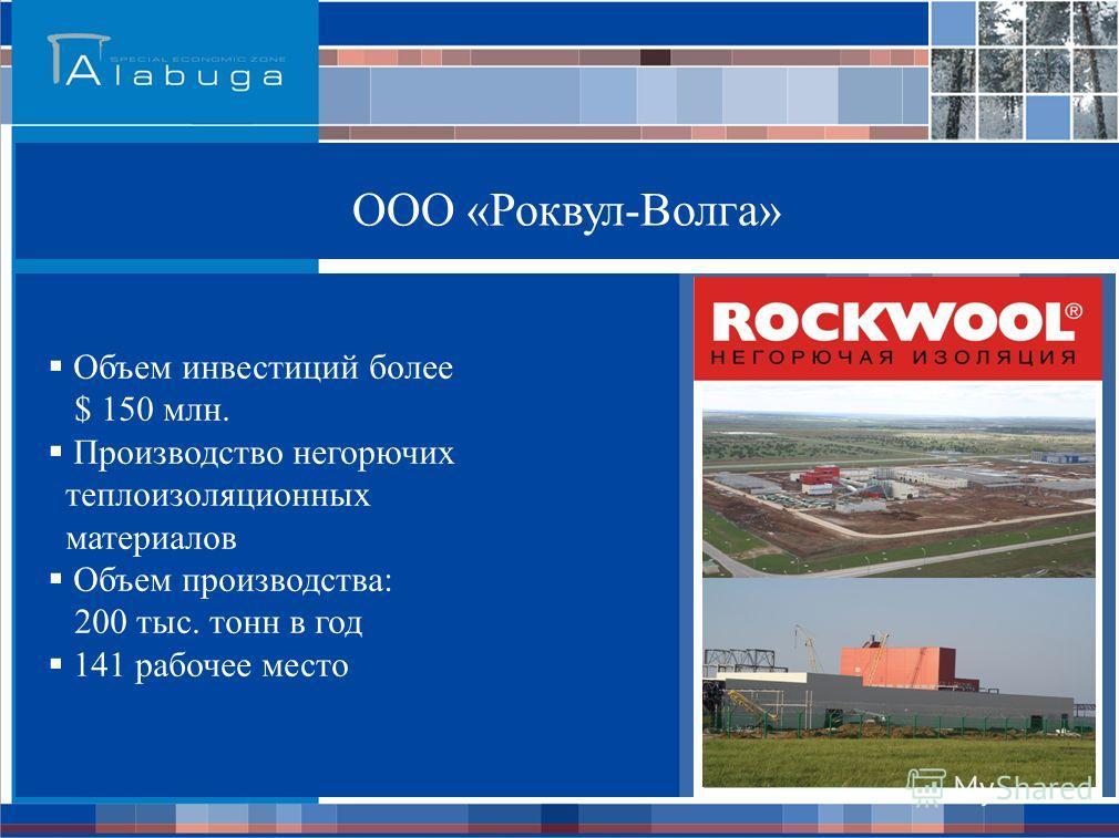ООО «Роквул-Волга» Объем инвестиций более $ 150 млн. Производство негорючих теплоизоляционных материалов Объем производства: 200 тыс. тонн в год 141 рабочее место