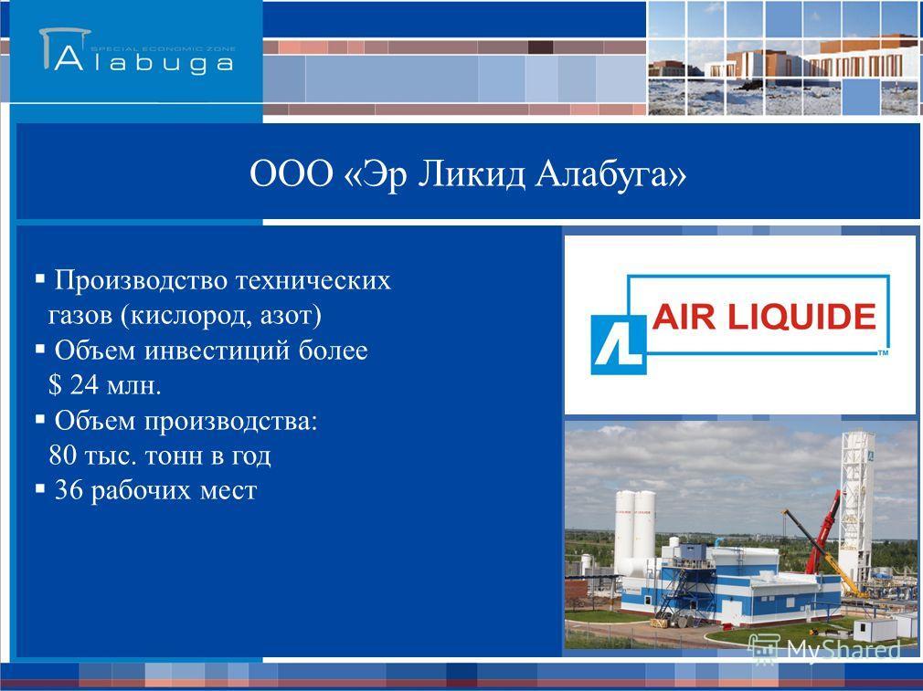 ООО «Эр Ликид Алабуга» Производство технических газов (кислород, азот) Объем инвестиций более $ 24 млн. Объем производства: 80 тыс. тонн в год 36 рабочих мест