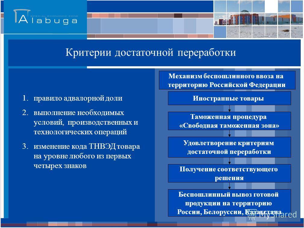Российская Федерация * - при условии соблюдения критериев достаточной переработки Критерии достаточной переработки 1. правило адвалорной доли 2. выполнение необходимых условий, производственных и технологических операций 3. изменение кода ТНВЭД товар
