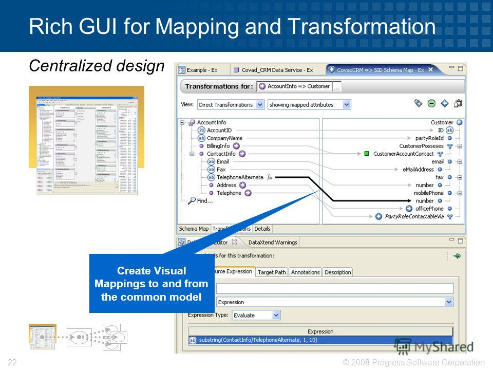 © 2008 Progress Software Corporation22 Rich GUI for Mapping and Transformation Centralized design Create Visual Mappings to and from the common model