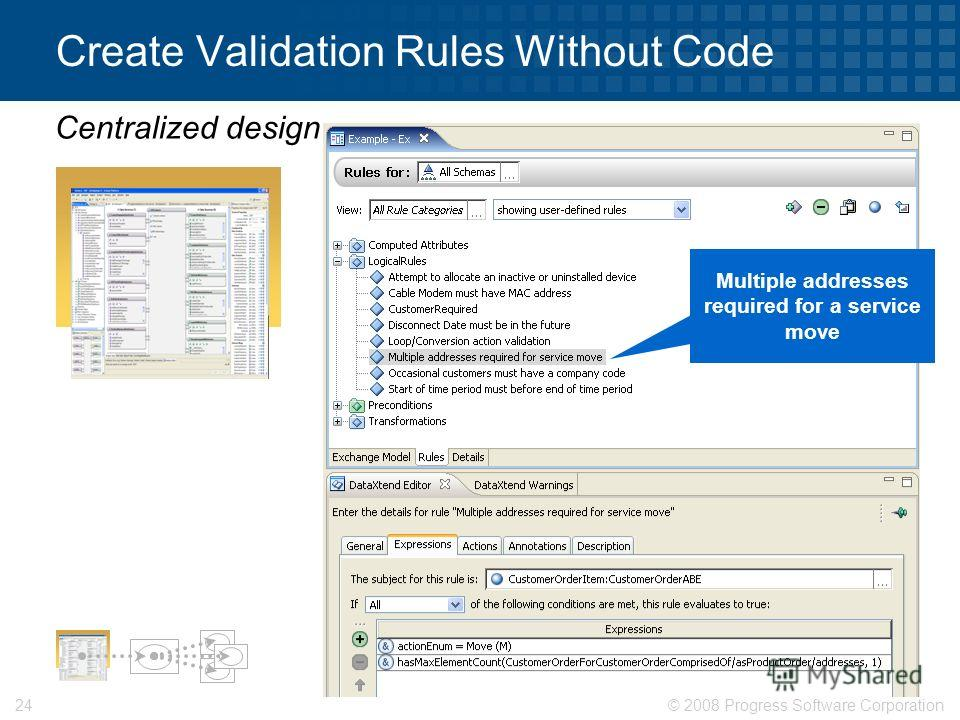© 2008 Progress Software Corporation24 Create Validation Rules Without Code Centralized design Multiple addresses required for a service move
