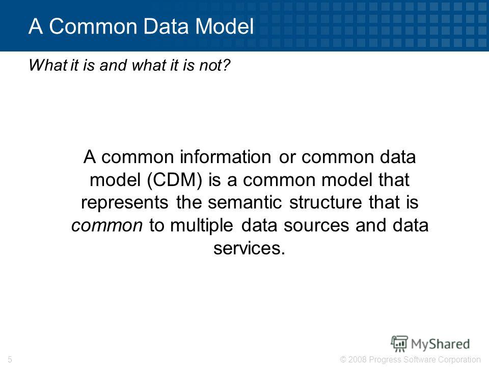 © 2008 Progress Software Corporation5 A Common Data Model A common information or common data model (CDM) is a common model that represents the semantic structure that is common to multiple data sources and data services. What it is and what it is no