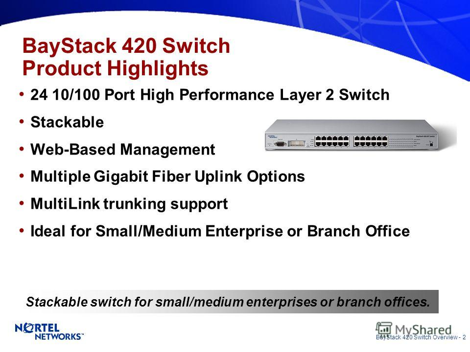 BayStack 420 Switch Overview - 2 Stackable switch for small/medium enterprises or branch offices. BayStack 420 Switch Product Highlights 24 10/100 Port High Performance Layer 2 Switch Stackable Web-Based Management Multiple Gigabit Fiber Uplink Optio