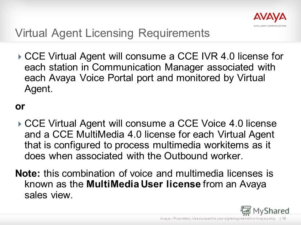 Avaya – Proprietary. Use pursuant to your signed agreement or Avaya policy. Virtual Agent Licensing Requirements CCE Virtual Agent will consume a CCE IVR 4.0 license for each station in Communication Manager associated with each Avaya Voice Portal po