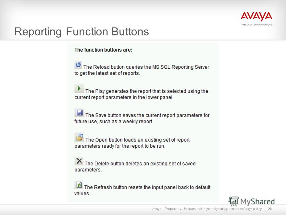 Avaya – Proprietary. Use pursuant to your signed agreement or Avaya policy. Reporting Function Buttons 28