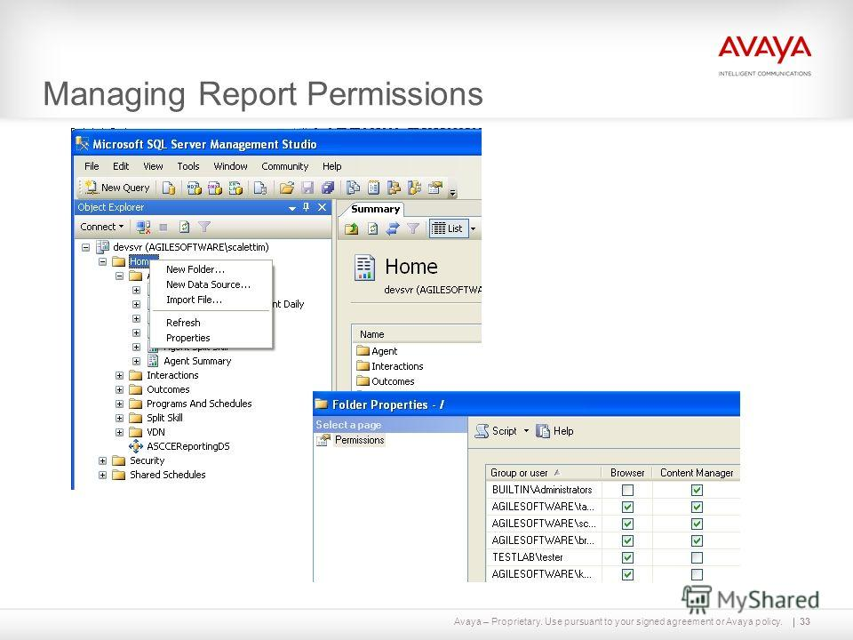 Avaya – Proprietary. Use pursuant to your signed agreement or Avaya policy. Managing Report Permissions 33