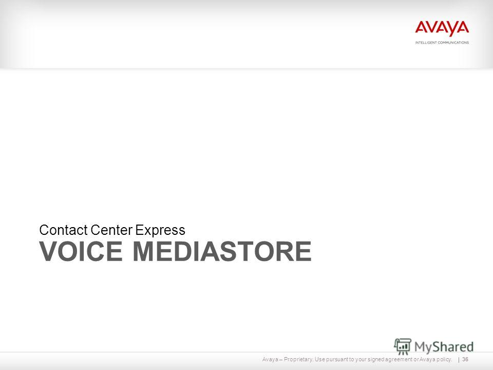 Avaya – Proprietary. Use pursuant to your signed agreement or Avaya policy. VOICE MEDIASTORE Contact Center Express 36