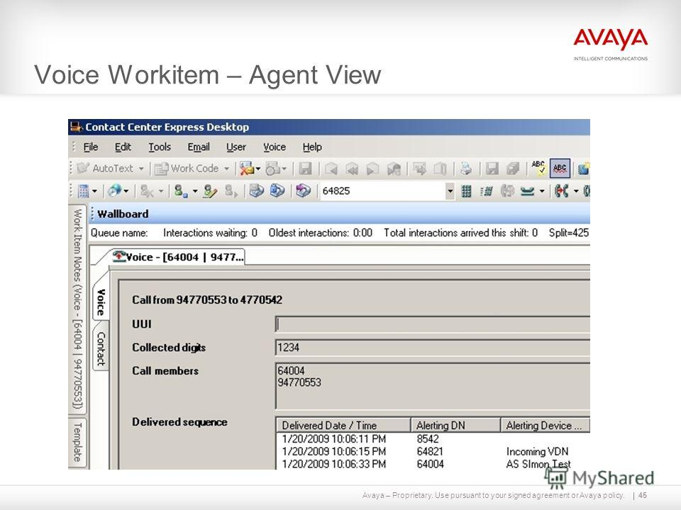 Avaya – Proprietary. Use pursuant to your signed agreement or Avaya policy. Voice Workitem – Agent View 45