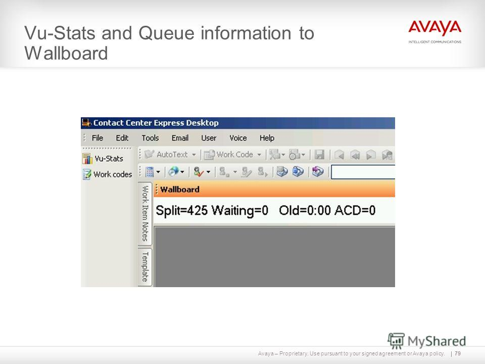 Avaya – Proprietary. Use pursuant to your signed agreement or Avaya policy. Vu-Stats and Queue information to Wallboard 79
