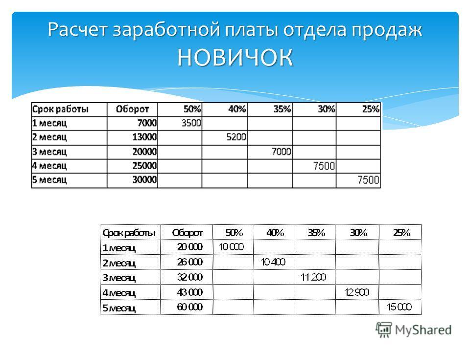 Расчет заработной платы отдела продаж НОВИЧОК