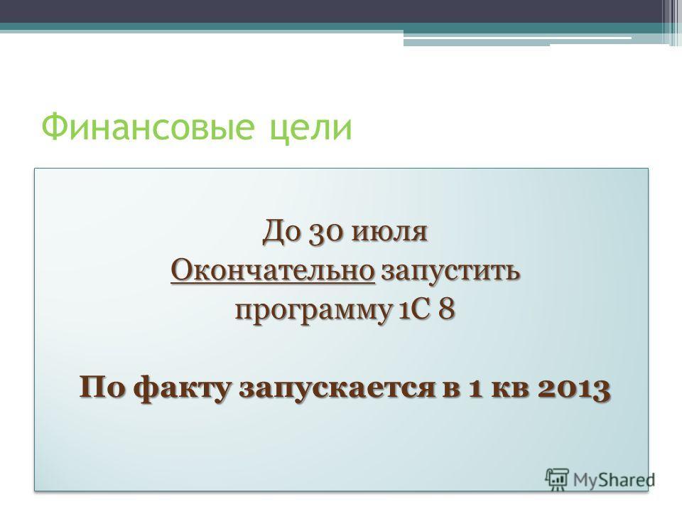 Финансовые цели До 30 июля Окончательно запустить программу 1С 8 По факту запускается в 1 кв 2013 До 30 июля Окончательно запустить программу 1С 8 По факту запускается в 1 кв 2013