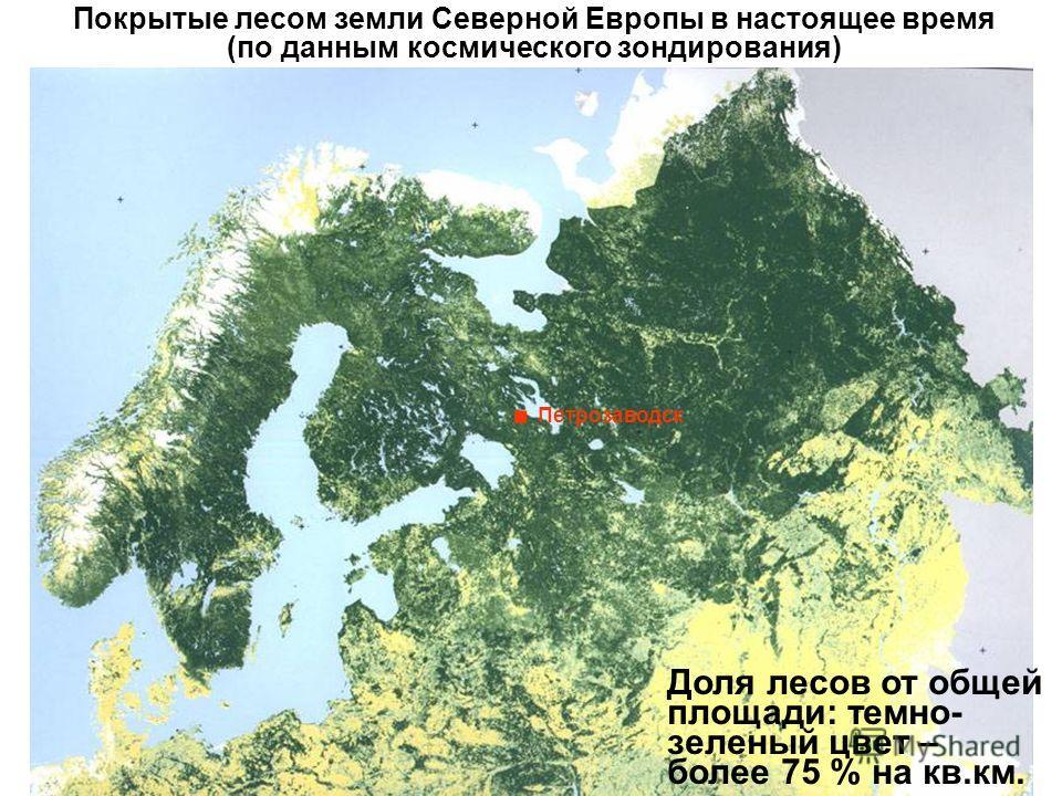 Покрытые лесом земли Северной Европы в настоящее время (по данным космического зондирования). Петрозаводск Доля лесов от общей площади: темно- зеленый цвет – более 75 % на кв.км.