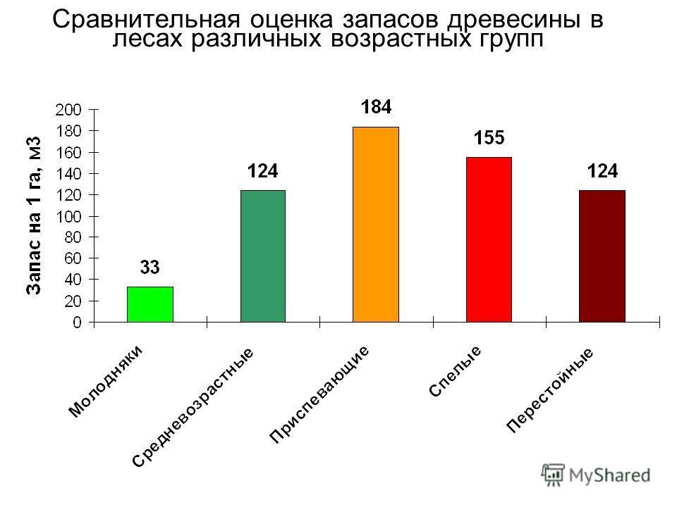 Сравнительная оценка запасов древесины в лесах различных возрастных групп