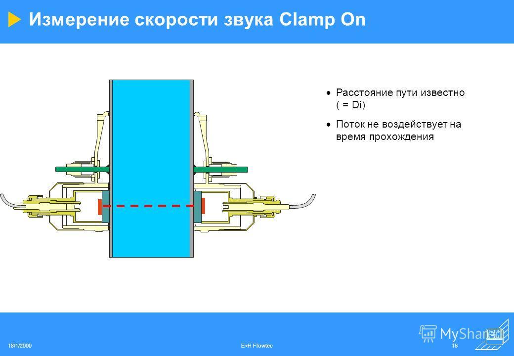 18/1/2000E+H Flowtec16 Измерение скорости звука Clamp On Расстояние пути известно ( = Di) Поток не воздействует на время прохождения