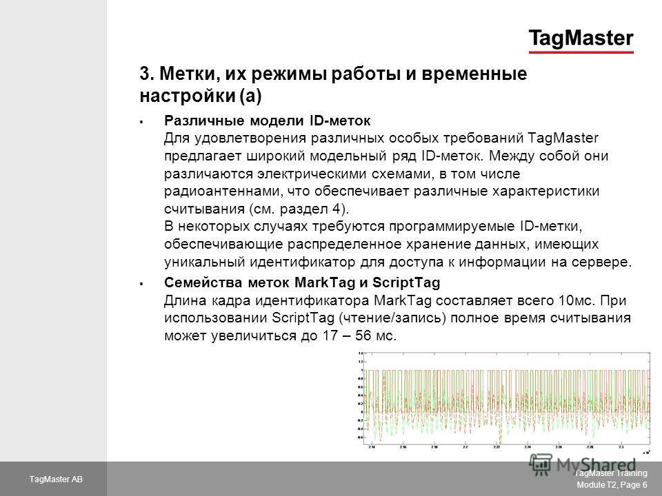 TagMaster Training Module T2, Page 6 TagMaster AB 3. Метки, их режимы работы и временные настройки (a) Различные модели ID-меток Для удовлетворения различных особых требований TagMaster предлагает широкий модельный ряд ID-меток. Между собой они разли