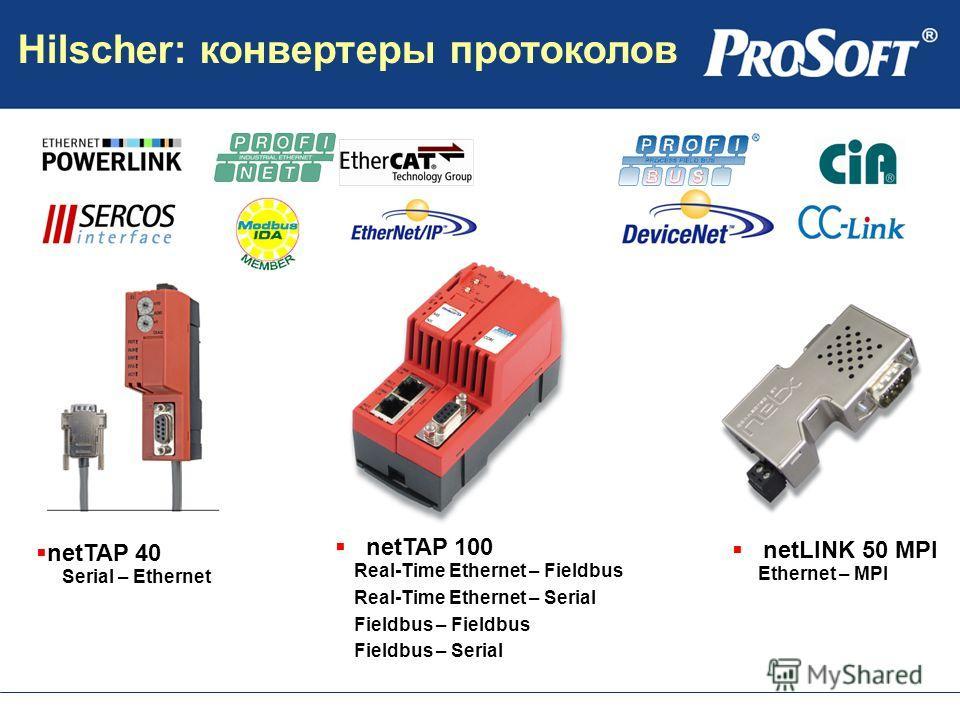 netTAP 40 Serial – Ethernet netLINK 50 MPI Ethernet – MPI netTAP 100 Real-Time Ethernet – Fieldbus Real-Time Ethernet – Serial Fieldbus – Fieldbus Fieldbus – Serial Hilscher: конвертеры протоколов