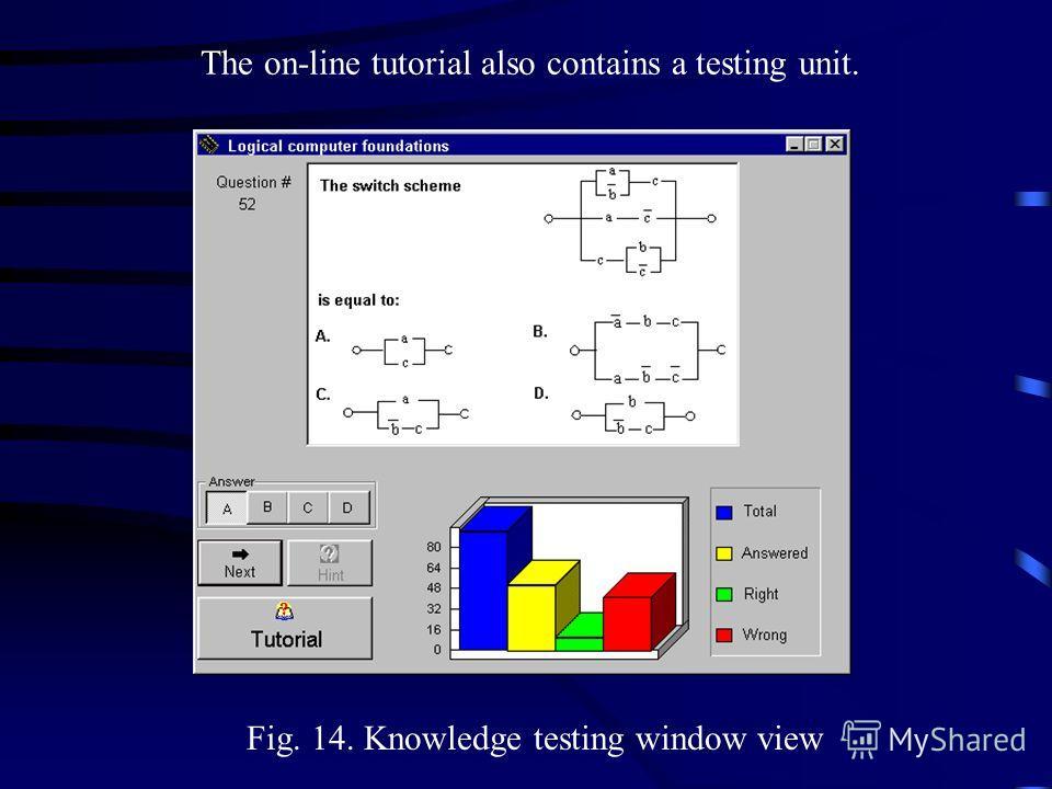 Fig. 14. Knowledge testing window view The on-line tutorial also contains a testing unit.