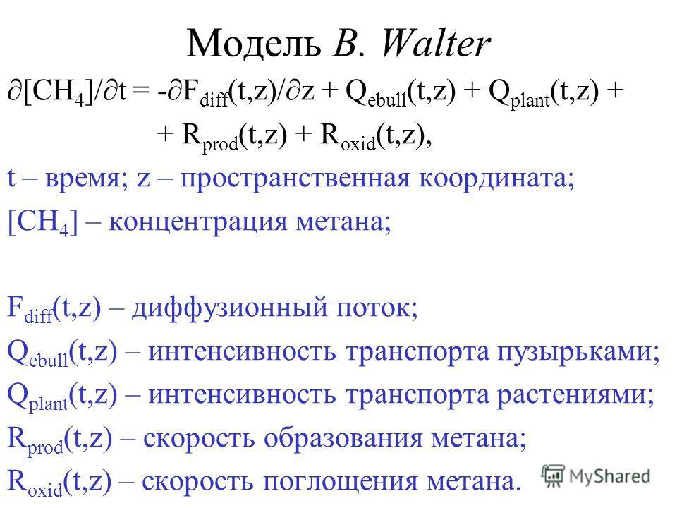 Модель В. Walter [CH 4 ]/ t = - F diff (t,z)/ z + Q ebull (t,z) + Q plant (t,z) + + R prod (t,z) + R oxid (t,z), t – время; z – пространственная координата; [CH 4 ] – концентрация метана; F diff (t,z) – диффузионный поток; Q ebull (t,z) – интенсивнос