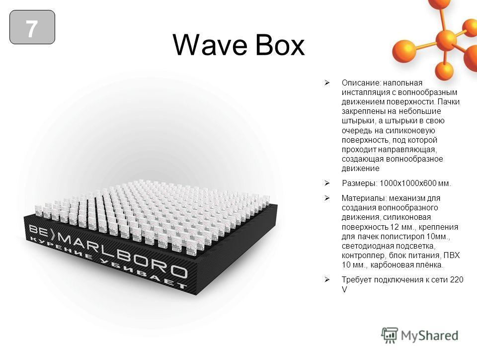 Wave Box Описание: напольная инсталляция с волнообразным движением поверхности. Пачки закреплены на небольшие штырьки, а штырьки в свою очередь на силиконовую поверхность, под которой проходит направляющая, создающая волнообразное движение Размеры: 1
