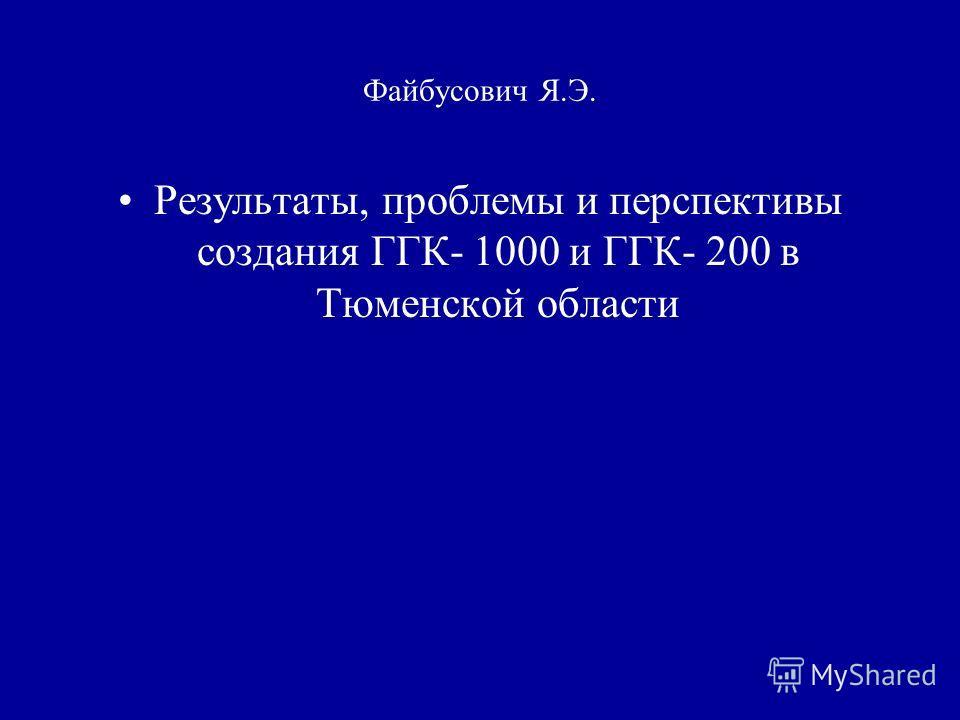 Файбусович Я.Э. Результаты, проблемы и перспективы создания ГГК- 1000 и ГГК- 200 в Тюменской области