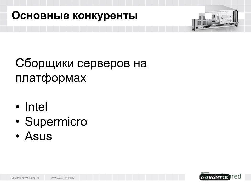 Основные конкуренты Сборщики серверов на платформах Intel Supermicro Asus