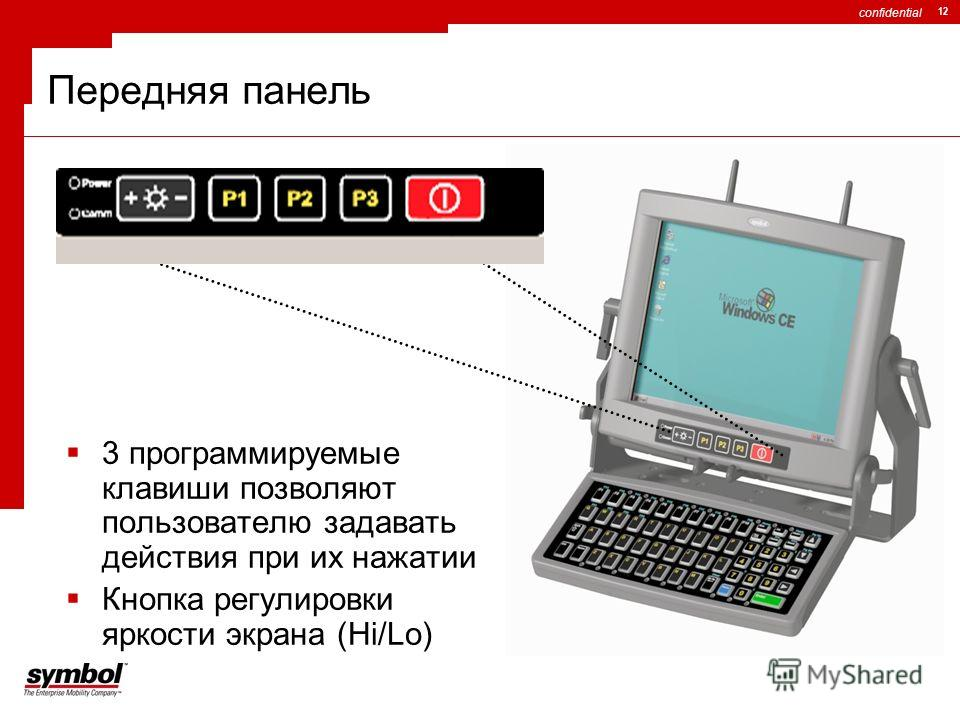 confidential 12 Передняя панель 3 программируемые клавиши позволяют пользователю задавать действия при их нажатии Кнопка регулировки яркости экрана (Hi/Lo)