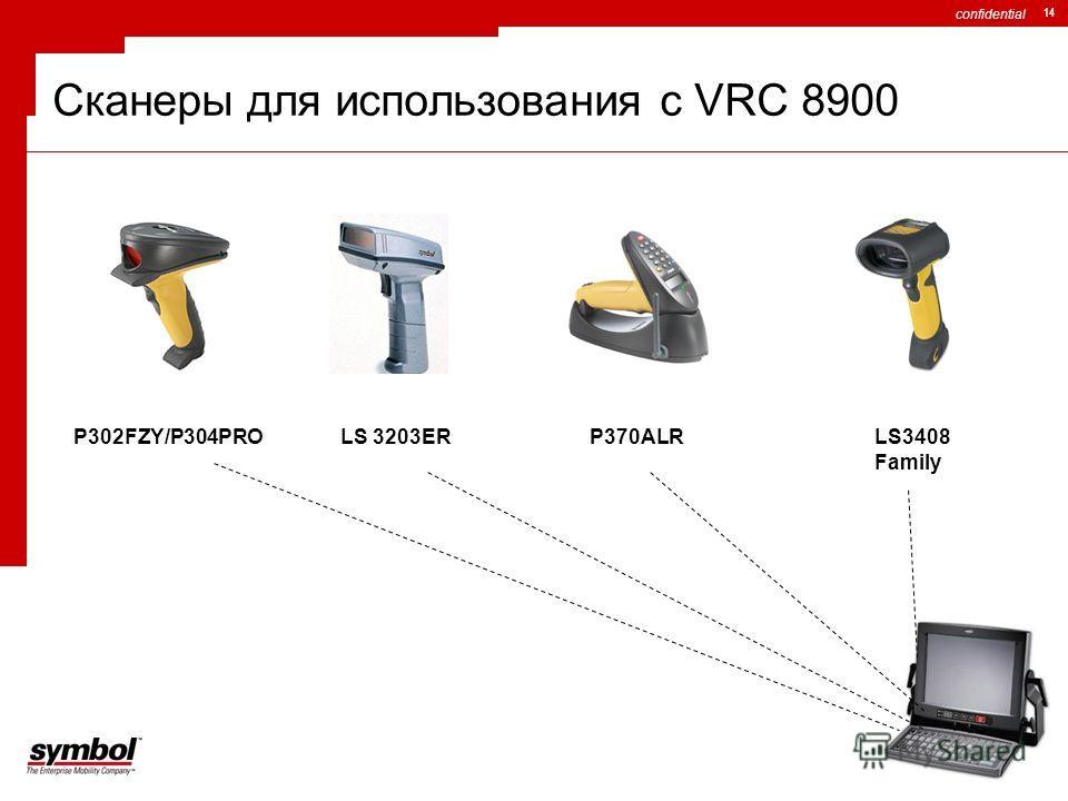 confidential 14 Сканеры для использования с VRC 8900 P302FZY/P304PROLS 3203ERP370ALRLS3408 Family