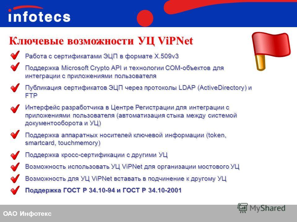 ОАО Инфотекс Ключевые возможности УЦ ViPNet Работа с сертификатами ЭЦП в формате X.509v3 Поддержка Microsoft Crypto API и технологии COM-объектов для интеграции с приложениями пользователя Публикация сертификатов ЭЦП через протоколы LDAP (ActiveDirec