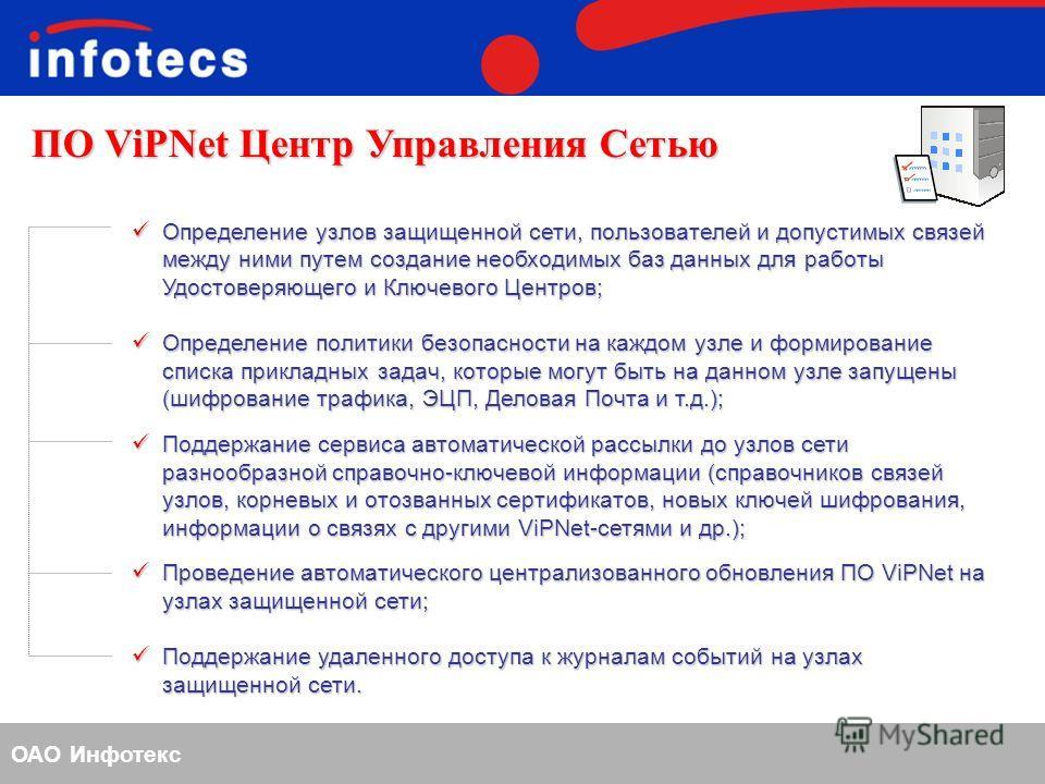 ОАО Инфотекс ПО ViPNet Центр Управления Сетью Определение узлов защищенной сети, пользователей и допустимых связей между ними путем создание необходимых баз данных для работы Удостоверяющего и Ключевого Центров; Определение узлов защищенной сети, пол