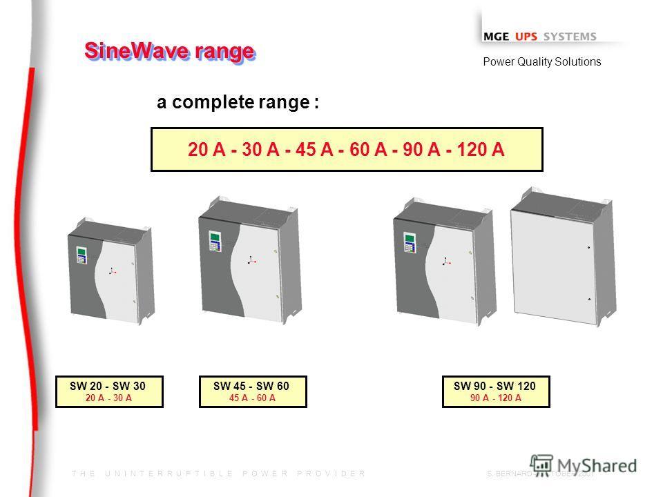 T H E U N I N T E R R U P T I B L E P O W E R P R O V I D E R Power Quality Solutions S. BERNARD - OCTOBER 2001 SineWave range a complete range : 20 A - 30 A - 45 A - 60 A - 90 A - 120 A SW 20 - SW 30 20 A - 30 A SW 45 - SW 60 45 A - 60 A SW 90 - SW